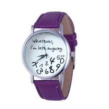 Tremendous Enjoyable Scorching Luxurious Style Excessive High quality 1PC Scorching Ladies Leather-based Watch No matter I'm Late Anyway Letter Watches Jan10