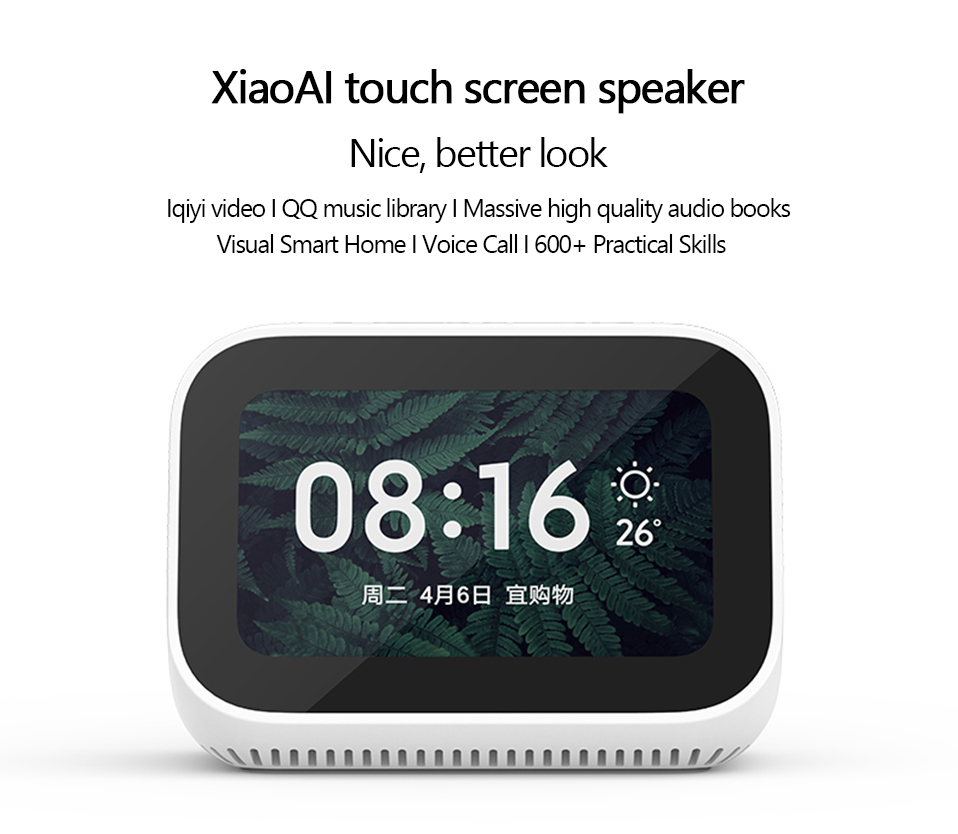 Original Xiaomi AI Touch Screen Bluetooth 5.0 Speaker Digital Display Alarm Clock WiFi Smart Connection Speaker Mi speaker (2)
