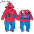 Baby boy cotton blue long short sleeve super hero spiderman batman romper infant blue autumn spring halloween purim clothes