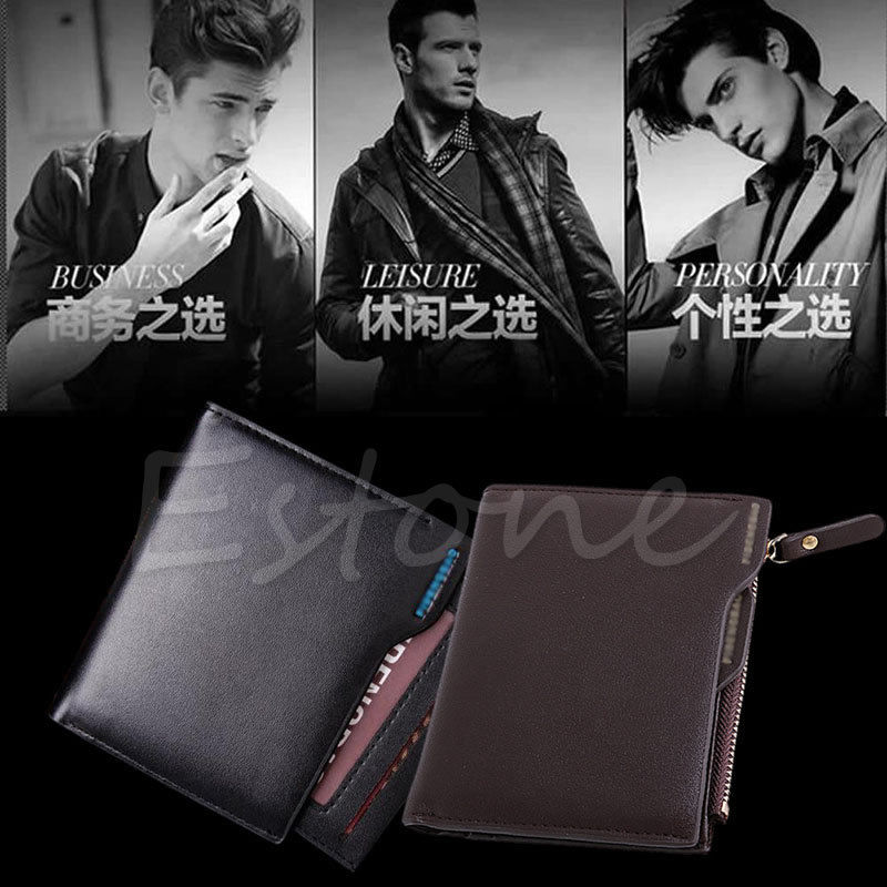 THINKTHENDO Fashion Short PU Soild Men's Faux Leather Wallet Pockets ID Credit Card Holder Bifold Coin Purse New