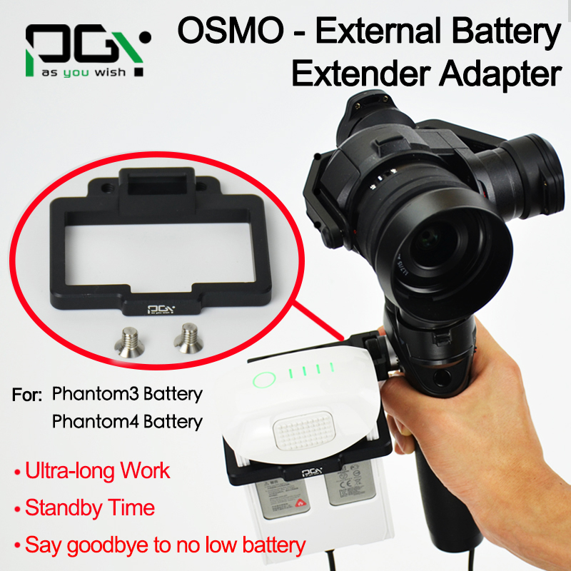 PGY DJI OSMO External phantom 3 4 Battery Extender Adapter connector battery X5 X3 Handheld gimbal
