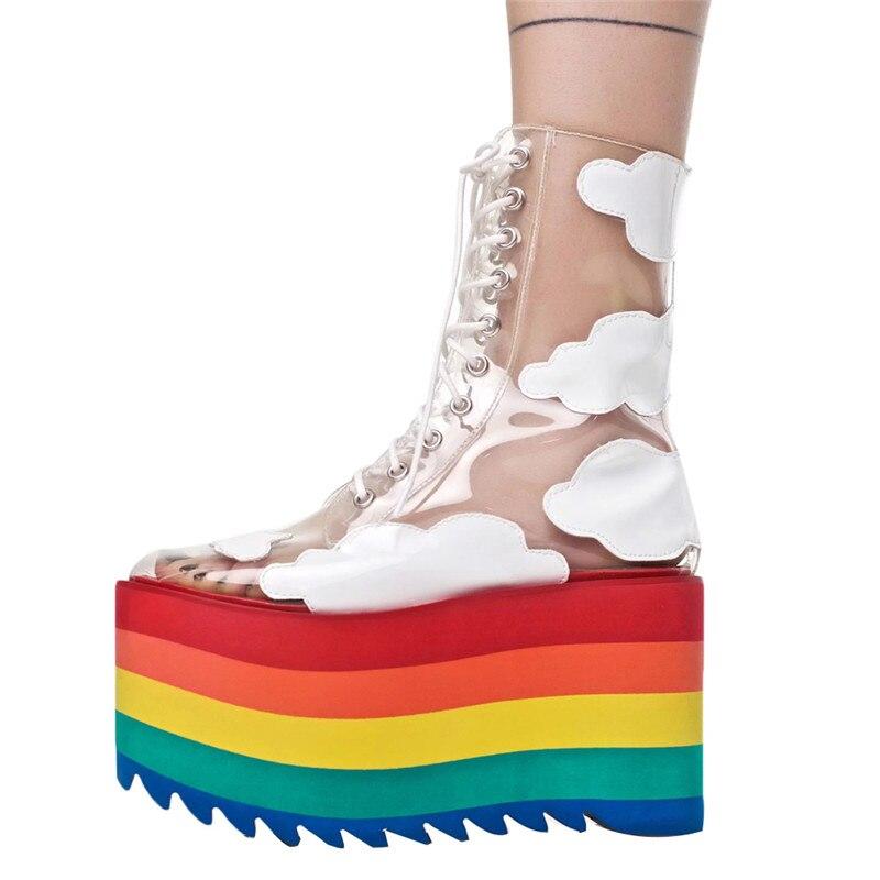 Arc-en-ciel thique mode d'été femmes arc-en-ciel bas talons hauts sandales sandales