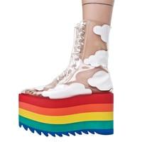 Rainbow thic Summer fashion women's Rainbow bottom high heels sandals frenulum transparent purity Women high heels sandals shoes