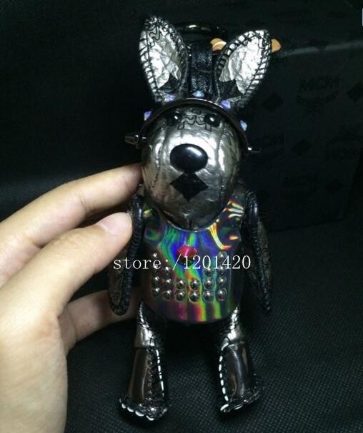 Punk Bunny bag charm Steam punk unique rabbit Keychain Luxury grey Leather key holders purse Charm Mink Fur Tail charm gift