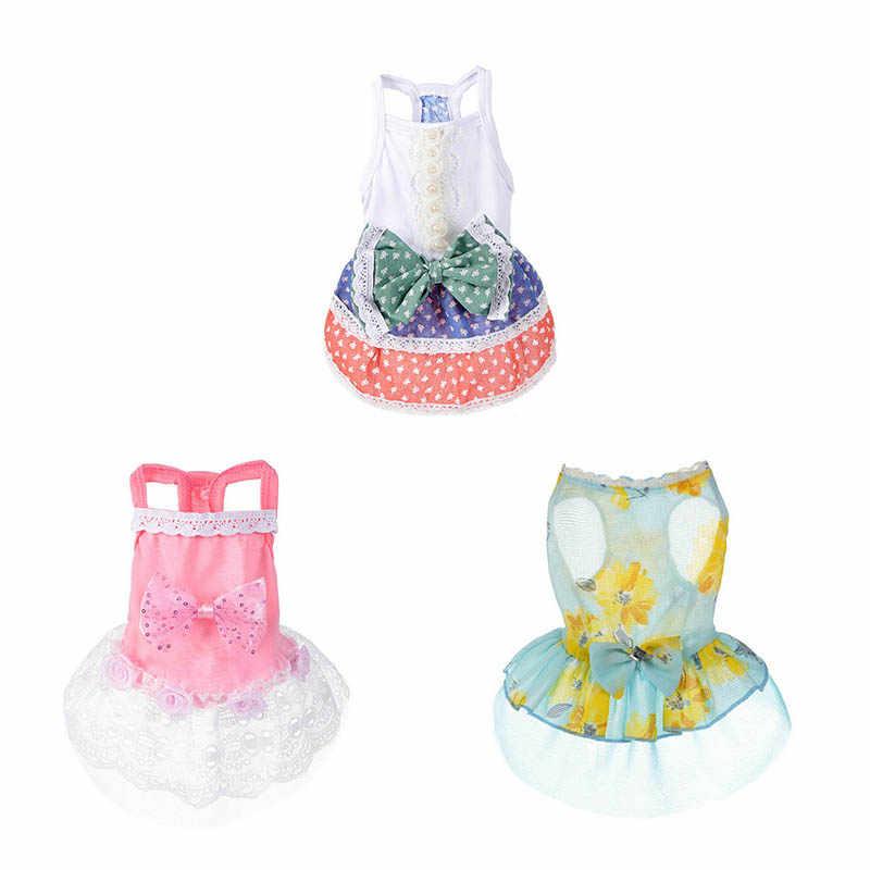 יפה חיות מחמד גור כלב תלבושות קיץ Bow נסיכת טוטו שמלת תחרת חצאית חמודה חיות מחמד כלב חתול בגדי
