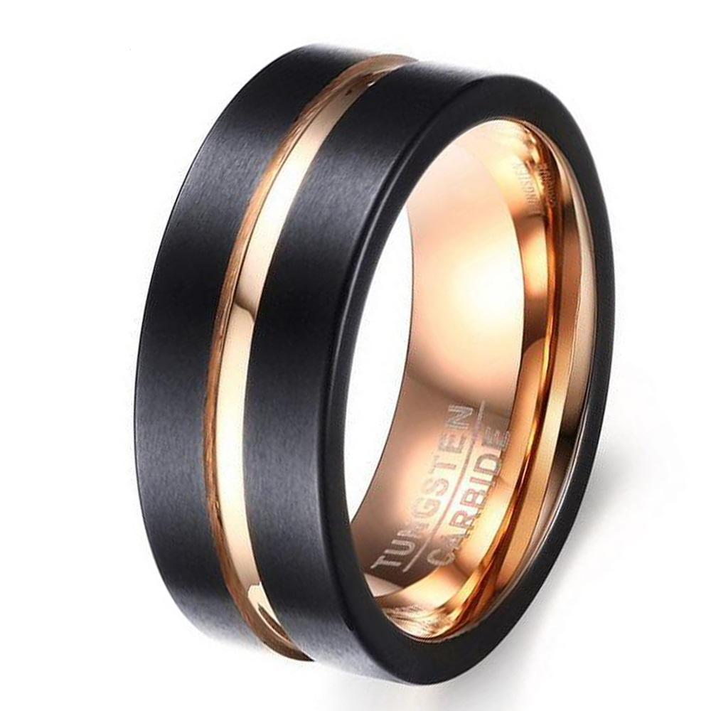 8mm Black & Rose Gold Color Tungsten Carbide Anniversary Promise Ring Male & Female Wedding Band Size 7 to 12