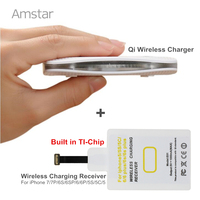 Amstar Qiชาร์จไร้สายแบบพกพาไร้สายโทรศัพท์USBชาร์จ+ [TI-ชิป]รับชาร์จไร้สายสำหรับiphone 7 7บวก6วินาที6 5