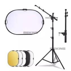 New Studio Photo Reflector Holder Bracket Arm Support Cross Bar+ Tripod Light Stand + 5in1 60*90cm Reflector Disc