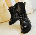 2016 nuevo Señoras de Las Mujeres de Moda Del Dedo Del Pie Redondo Fresco Ejército Corto botas Planas Otoño Invierno Zapatos con cordones Negro Cuero de LA PU Antideslizante