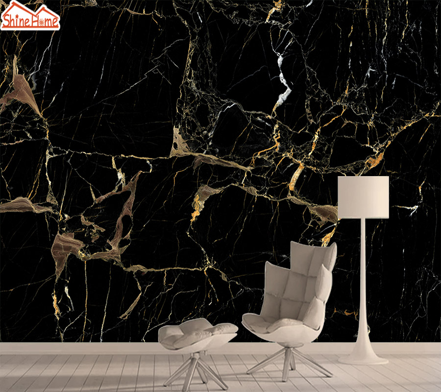 Silk Mural Photo Wallpaper 3d Contact Wall Paper Papers Home Decor Wallpapers For Living Room Black Gold Marble TV Murals Art