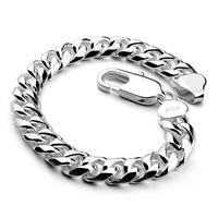 Men sterling silver jewelry 100% 925 Sterling silver vintage link chain bracelet thick bracelet Cuban bracelet 10MM20cm bracelet
