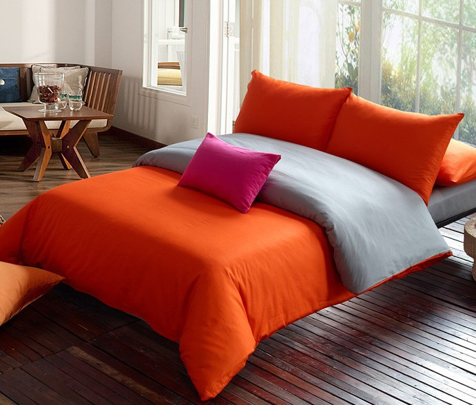 Free Shipping Solid Bedding Set Orange Gray Duvet Set