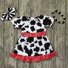 2018 Summer dress cow pattern girl kids boutique clothing hot sell farm girl outfit super cute dress with matching accessories