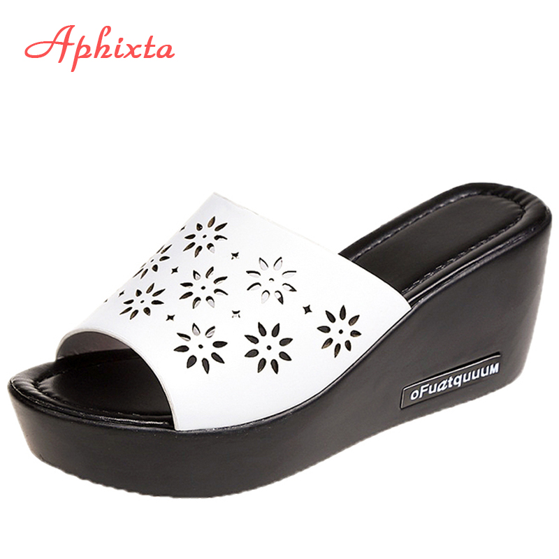 Aphixta Platform Slippers Women Wedge Slides Fish Mouth Sandals Leather Wedges High Heels Sandals Peep Toe Slipper Woman Shoes znpnxn wedge shoes women sandals platform shoes woman wedges sandals slides pink nice high quality href page 1 page 1