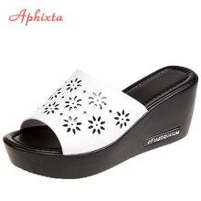 Aphixta Platform Slippers Women Wedge Slides Fish Mouth Sandals Leather Wedges H
