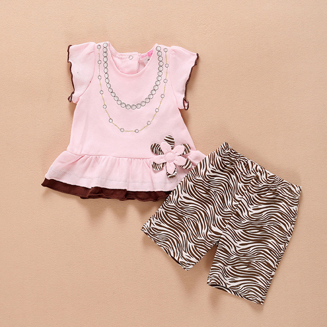 Verão novo da menina do bebê recém-nascido meninas infantis roupas terno vestido de algodão 2 conjunto Meninas Princess Dress Top Quality 100% Algodão