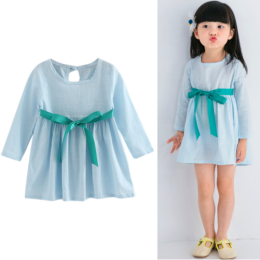 Kids Girls Long Sleeve Linen Dress Spring Summer Elegant Dresses Pullover O neck Dress Solid