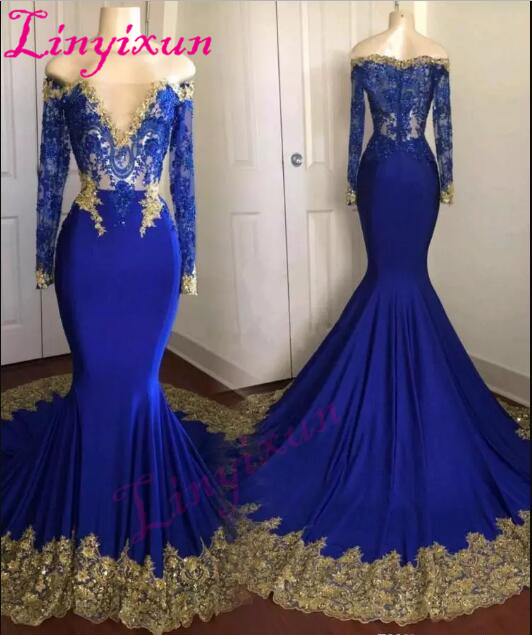 Linyixun 2018 sexy cheap royal blue   prom     dress   plus size gold appliques vestidos de fiesta long sleeve Evening   dresses