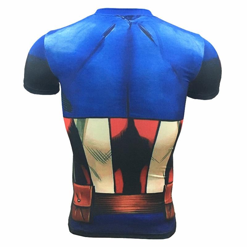 Kaptan Amerika 3D Kas Gömlek Erkekler Slim Fit T Shirt Vücut - Erkek Giyim - Fotoğraf 4