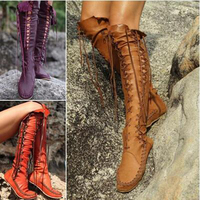 NEw Arrivals Autumn Thigh High Suede Women boots Over the knee Fashion Patchwork Sexy Lace Up Boots