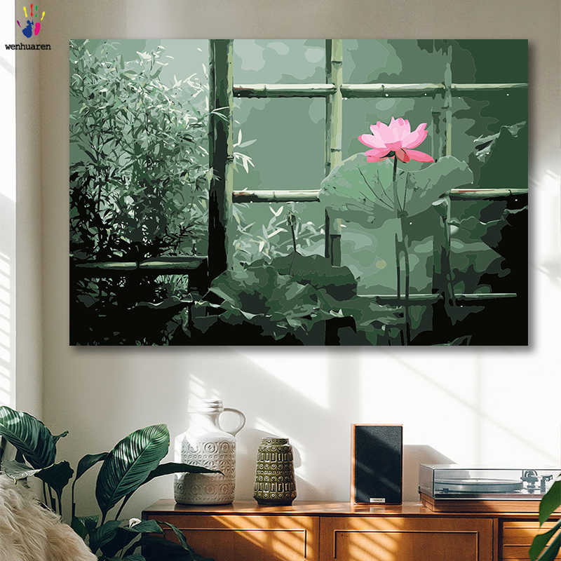 DIY colorings pictures by numbers with colors Lotus forest scenery picture drawing painting by numbers framed Home
