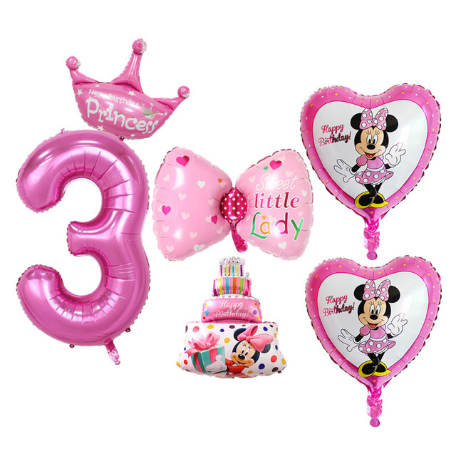 6pcs Set Pink Blue Baby 3 Years Old Birthday Balloons Digital Foil