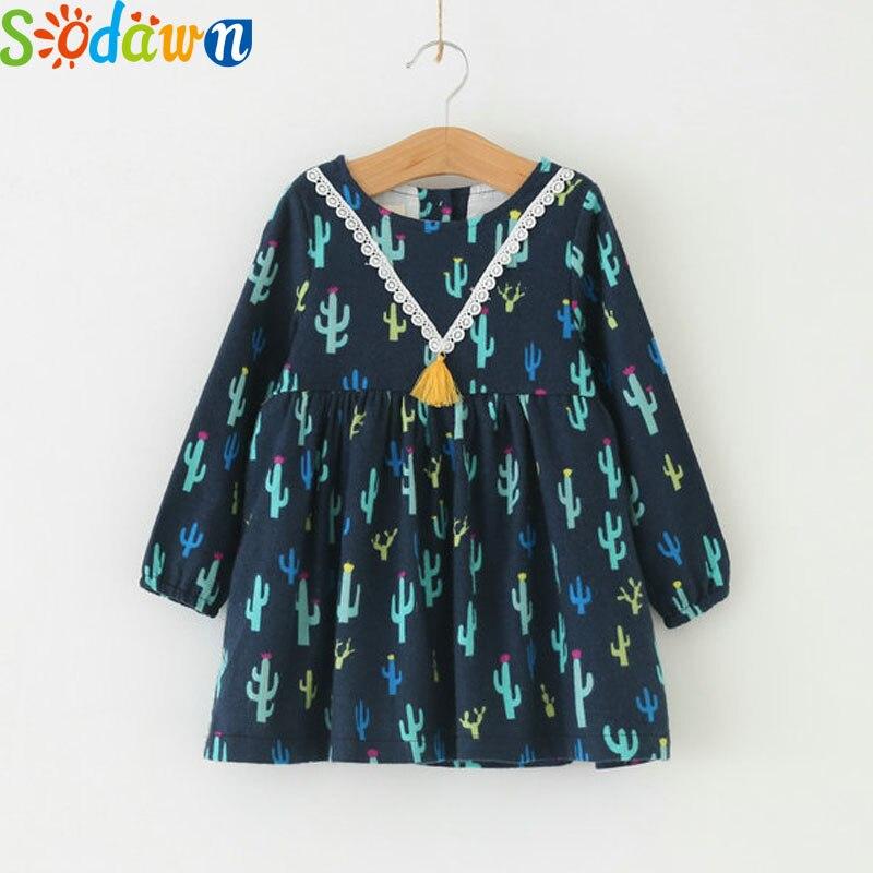 Sodawn Autumn New Girl Dress Long sleeves V-Neck Lace Tassel Cartoon Pattern Girls Clothes Kids Clothes Princess Dress