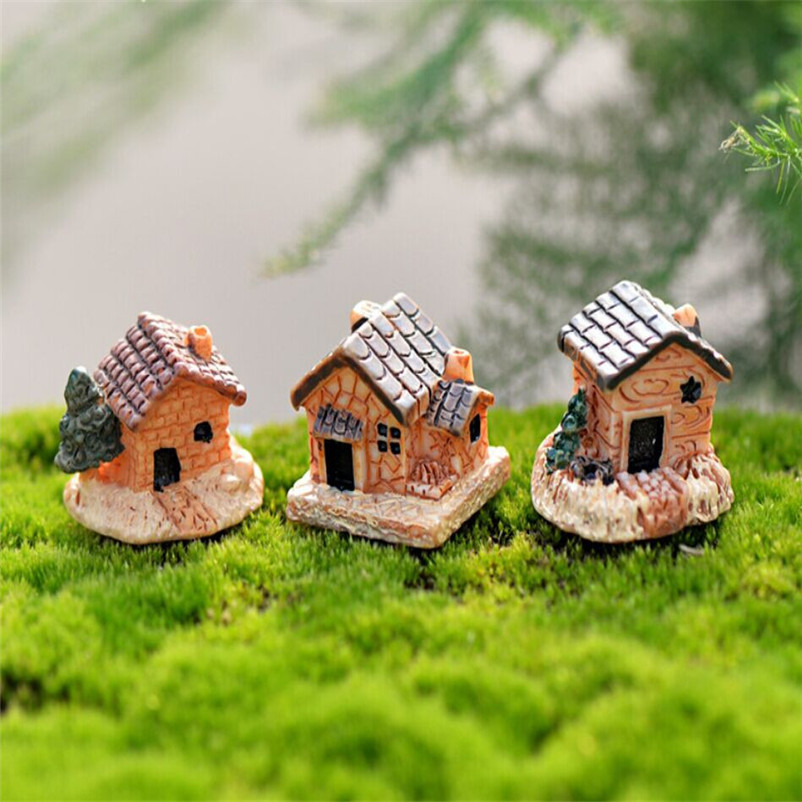 Mini Dollhouse Stone House Resin Decorations For Home And Garden Diy Mini Craft Cottage Landscape Decoration Hot Sale R30