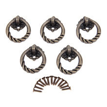 5Pcs Antique Furniture Handle Knobs for Mini Jewelry Box Cabinet and Handles Door Cupboard Kitchen Ring Pull