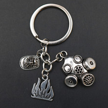 WKOUD 1pc Gas Mask & Fire Helmet Creative Metal Personalized Keychain - Pay Tribute To Heroic Firefighters A1867