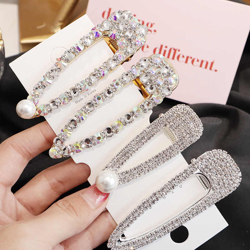 Women Bridal Vintage Faux Pearl Wrapped Hairpins Glitter Accessory Gold/Silver Metal Alloy Hair Clip Water Drop Barrettes Z5