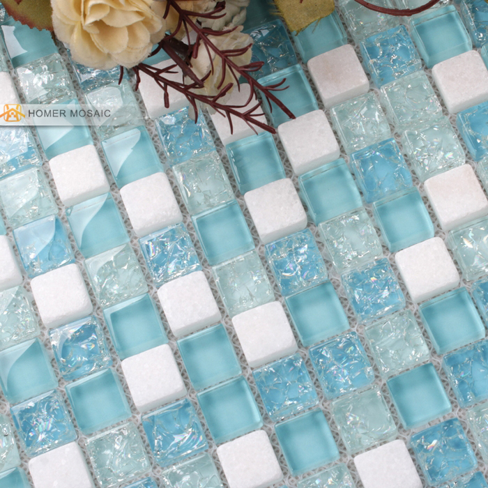 White Stone Mixed Blue Glass Tiles X Bathroom Mosaic Tiles - Blue and white tiles for sale