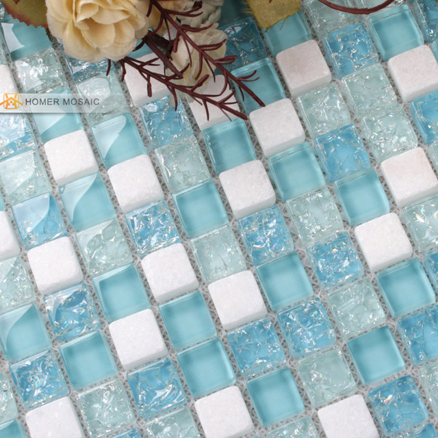 white mixed blue glass tiles 12x12 quot bathroom mosaic 17470