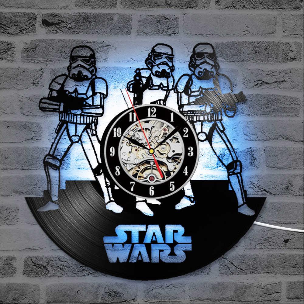Виниловых пластинок настенные часы светодиодные часы Бесшумный Винтаж часы в виде компакт-диска r настенные часы мультфильмы цифровой будильник с 7-цвет потолочные светильники для дома DecoR50A198
