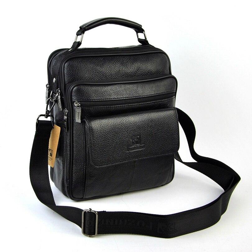 Men Genuine Leather Messenger Top Handle Shoulder Bag Cross Body Satchel Classic Retro Natural Cow Skin Practical Business Work