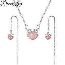DIEERLAN Bridal Jewelry Sets 925 Sterling Silver Pink Natural Stone Necklaces Long Cat Earrings for Women Wedding Female Jewelry(China)