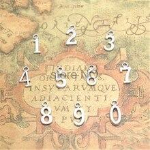 30 Uds número 0 ~ 9 encantos Tono de plata envejecida número 0 1 2 3 4 5 6 7 8 9 encanto árabe colgantes numerales de 15x7mm