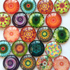 ZEROUP Round Photos Glass Cabochon Mixed Pattern fit Cameo Base Setting Jewelry Components