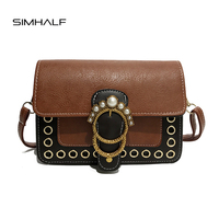 SIMHALF Brand New Women Shoulder Bags Fashion Retro Pu Leather Crossbody Bags For Girls Vintage Women