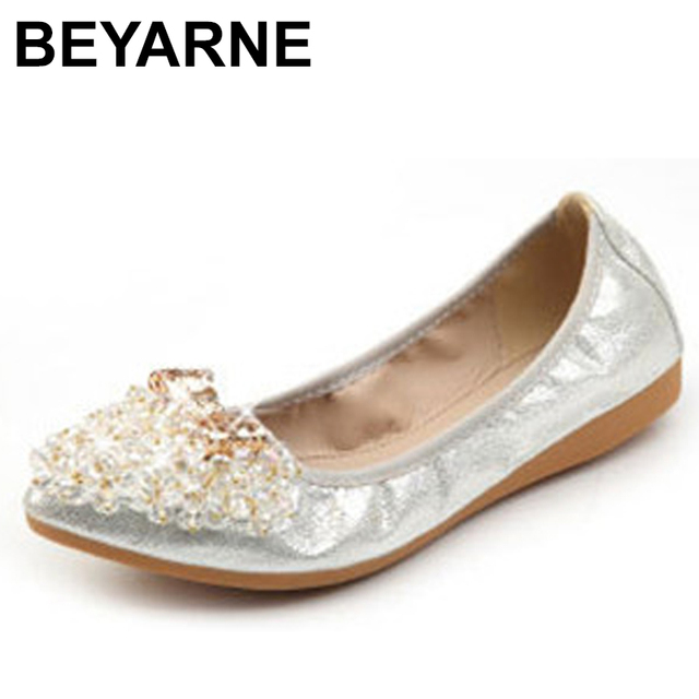 Beyarnebutterflyノットポインテッドトゥレディース靴フラッツ新ストリングビーズカジュアルバレエシューズプラスサイズ 45 scarpeドナ女性