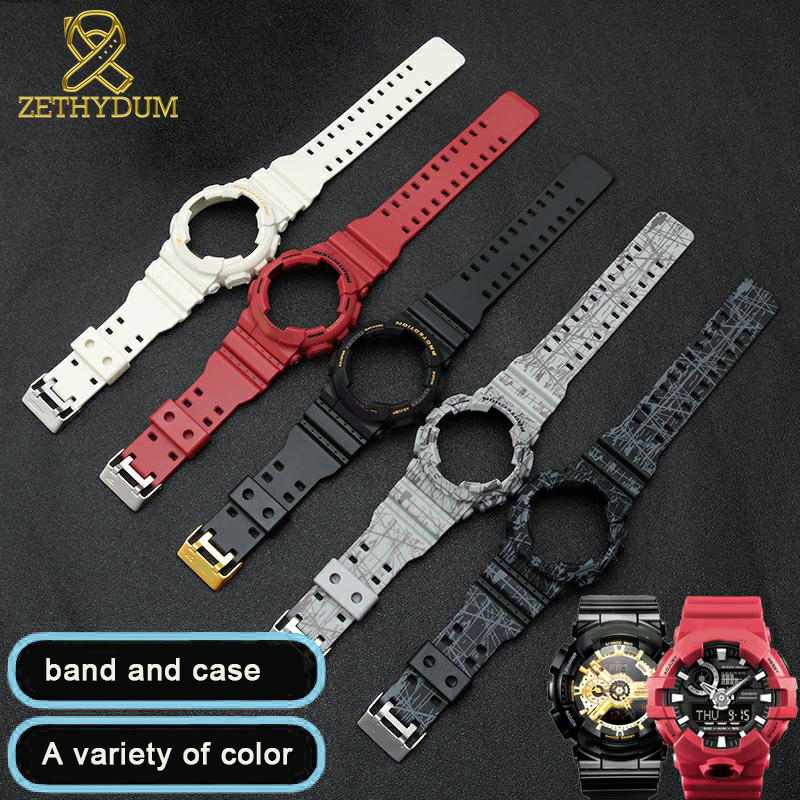 Resin Watch Strap For Casio GD GLS GA120 GA-100 GA-110 Silicone Rubber Watchband Sport Watches Band And Watch Case