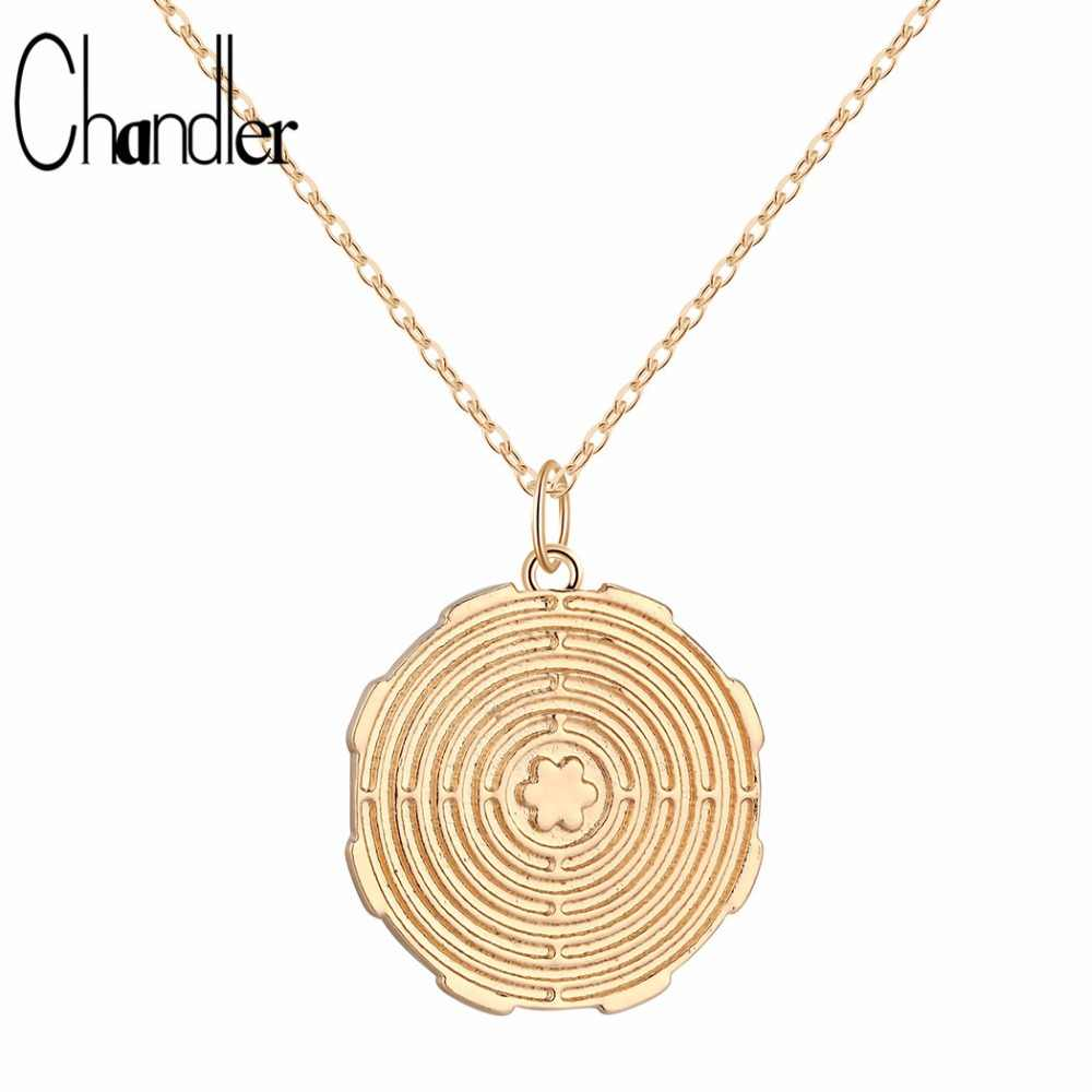 Chandler 1PCS Gold Silver Plated Mandala Pendant Necklace Labyrinth Coin Sacred Spiritual Jorney Charm Metal Steel Chain Collars