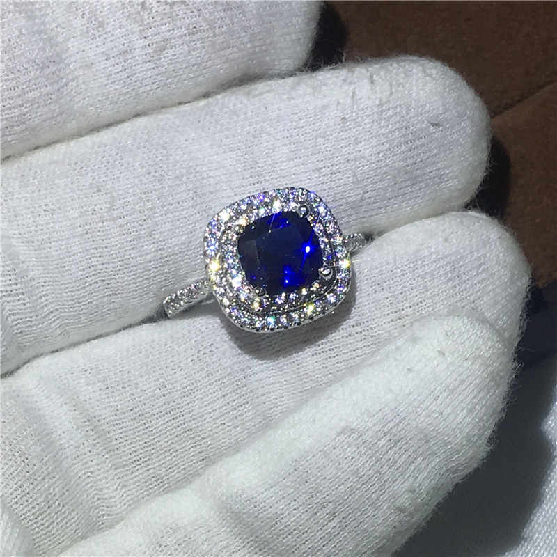 แฟชั่นผู้หญิงตัด 3ct Blue 5A zircon คริสตัล 925 เงินสเตอร์ลิงแหวนหมั้นแหวนแต่งงานสำหรับผู้หญิง Bijoux