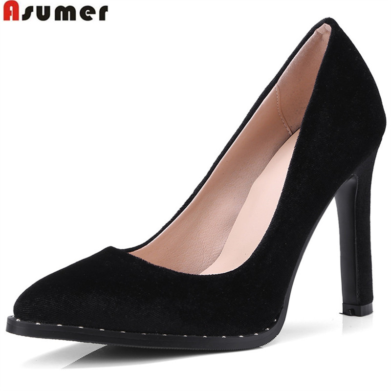 ASUMER black fashion spring autumn shoes woman pumps pointed toe shallow elegant thin heel women high heels shoes size 34-43 moonmeek new arrive spring summer female pumps high heels pointed toe thin heel shallow party wedding flock pumps women shoes