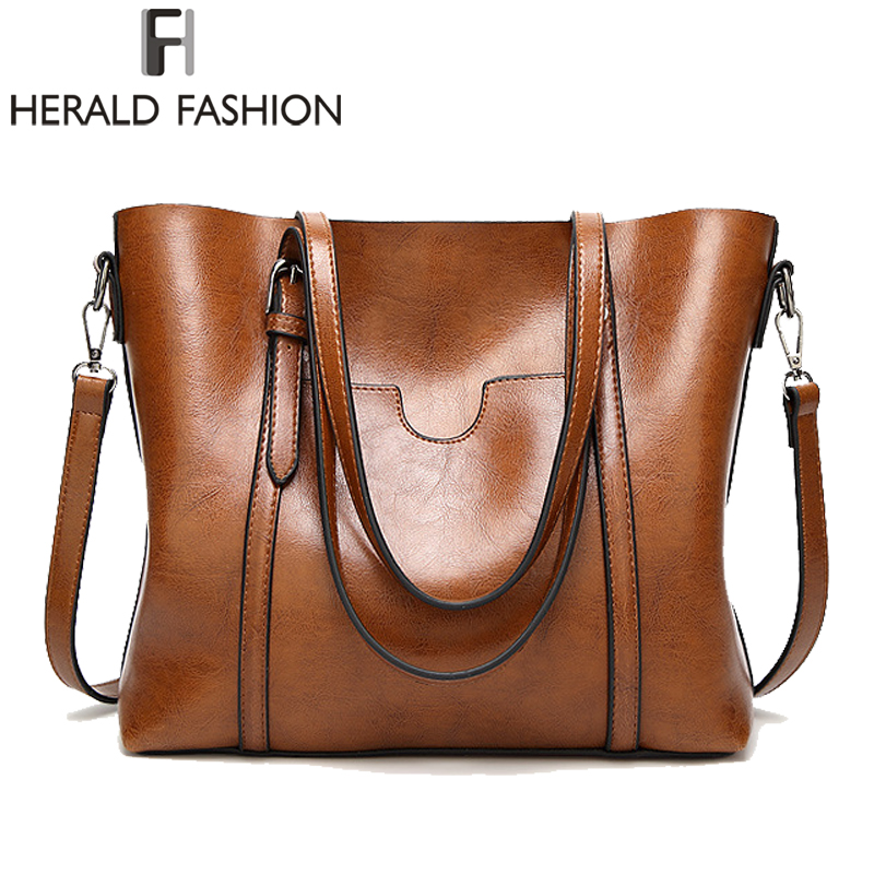 Herald Fashion Large Capacity Women Tote Bag High Quality PU Leather Female Handbags Top-Handle Bags Women Shoulder Bag bolsa famous brand women handbags pu leather bag women tote high quality ladies shoulder bags large capacity ladies top handle bags