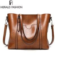 Herald Fashion Large Capacity Women Tote Bag High Quality PU Leather Female Handbags Top Handle Bags