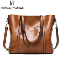 Herald Fashion Large Capacity Women Tote Bag High Quality PU Leather Female Handbags Top Handle Bags