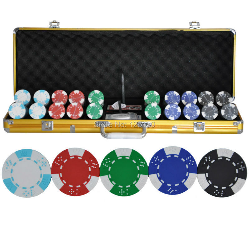 PK-5002 500pcs chips with case, Clay 14g Poker Chips insert metal, five colors