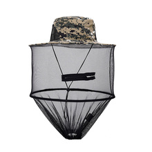 Sunshade windprood Anti-Mosquito Cap Midge Fly Insect Bucket Hat Mesh Head Net Fishing Camping Wild Jungle Mask Face Protect Cap