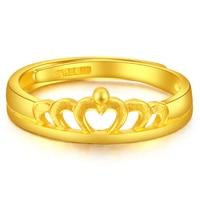 Чистое 24 K кольцо из желтого золота 999 Золотое женское кольцо с короной 3,41 г